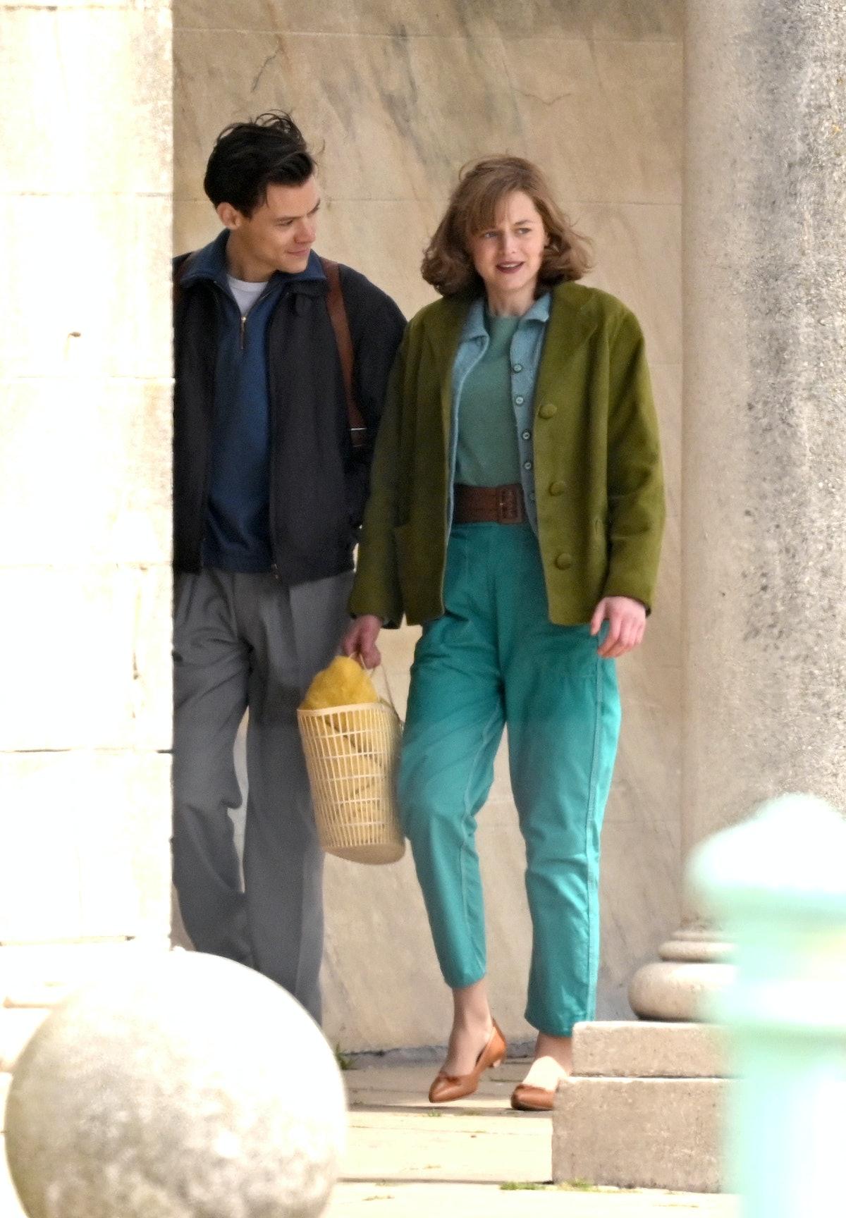 Harry Styles and Emma Corrin walking