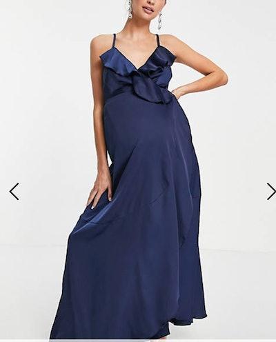 Little Mistress Maternity ruffle wrap midaxi satin dress in navy