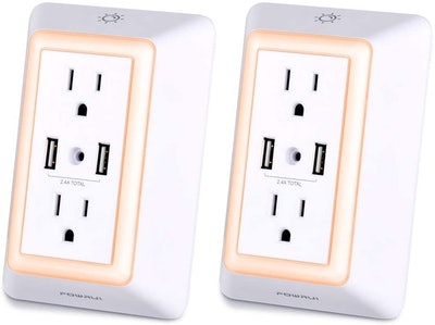 POWRUI USB Outlet with Night Light (2 Pack)