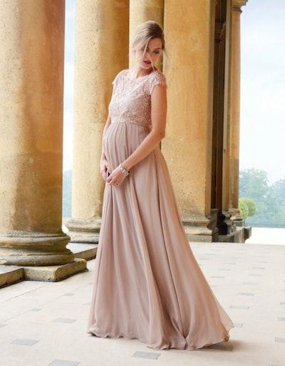 Blush Silk & Eyelash Lace Maternity Gown