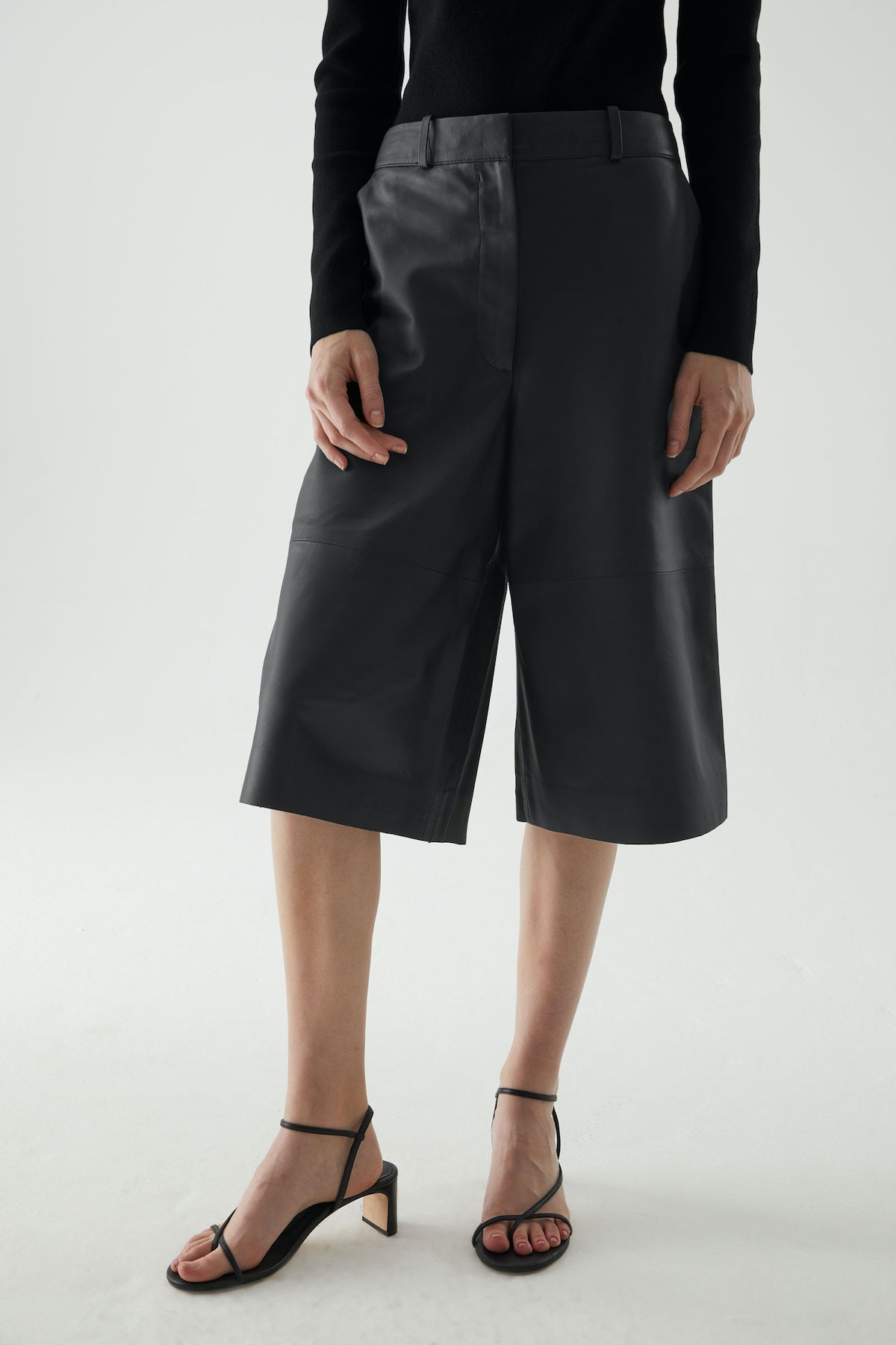 Leather High Waisted Wide-Leg Shorts