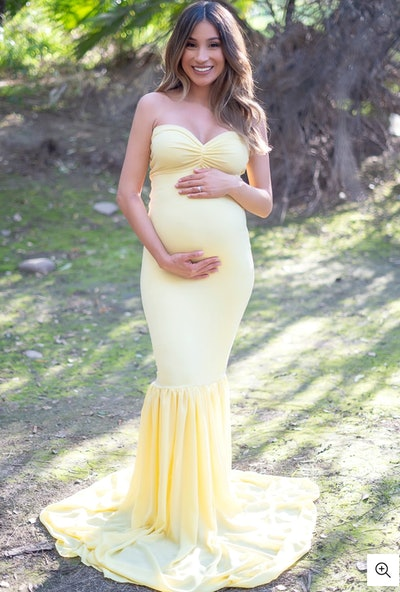 Strapless Ruched Mermaid Gown With Chiffon