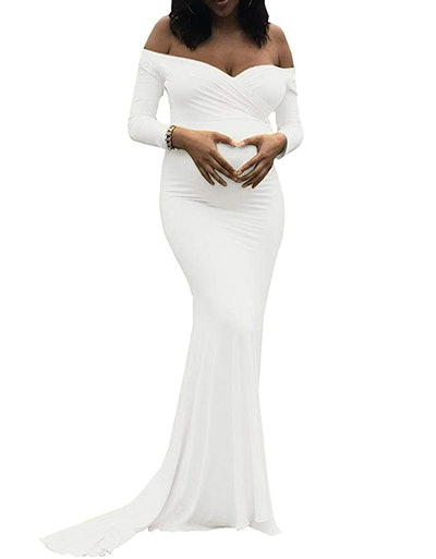 Saslax Maternity Elegant Fitted Maternity Gown