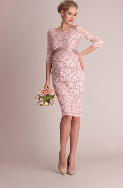 Blush Lace Maternity Cocktail Dress