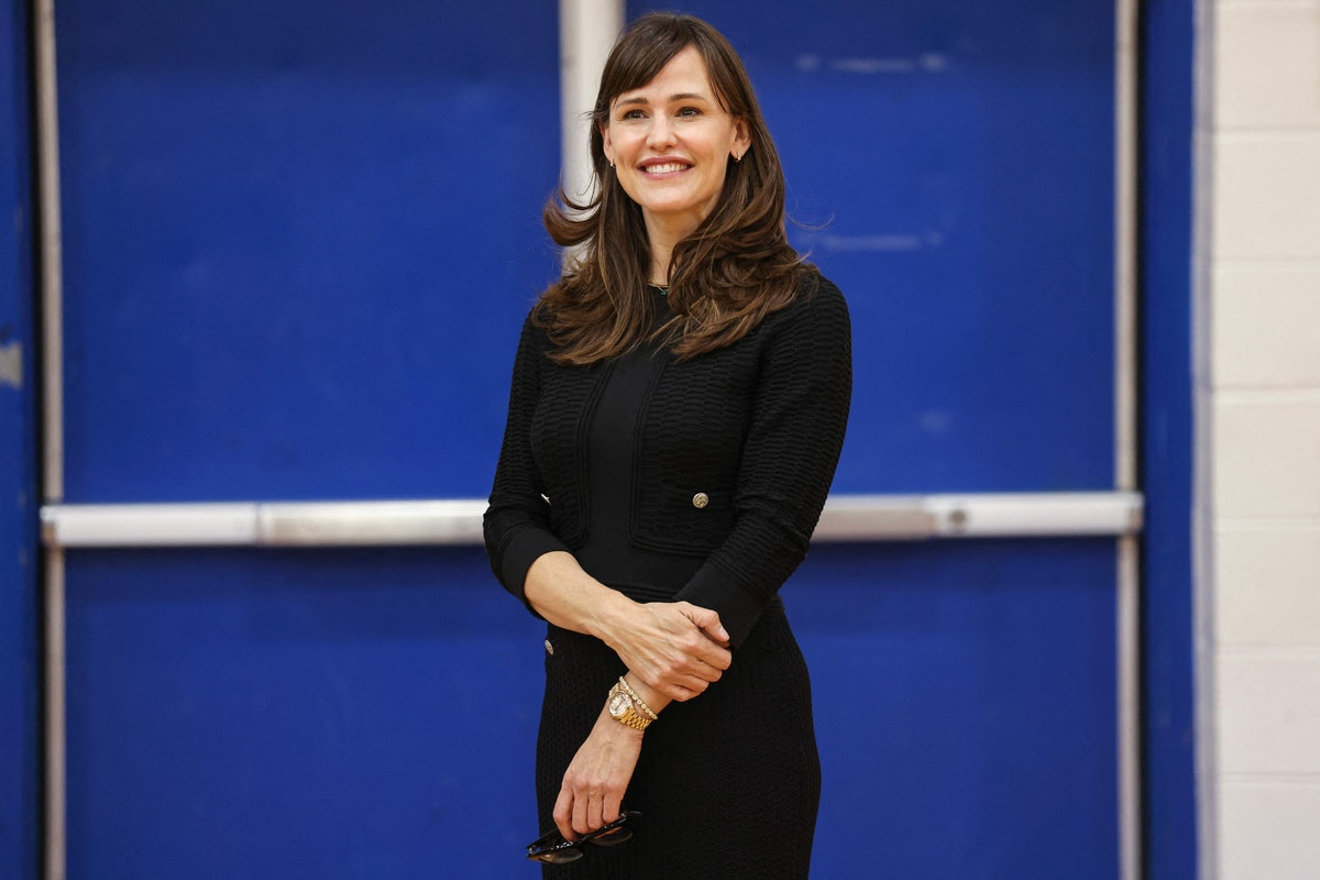 Actress Jennifer Garner poses at Capital High School in Charleston, West Virginia during a trip with...