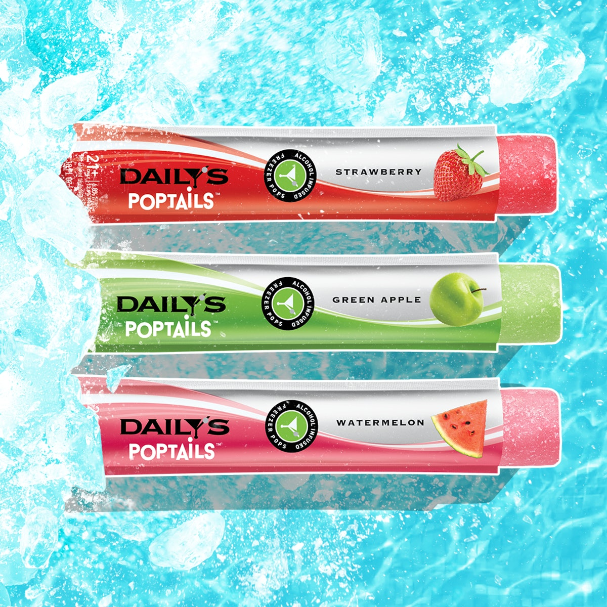 These Daily's Poptails Frozen Alcoholic Pops Feature flavors like green apple.