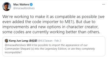 mac walters tweet explaining mass effect legendary edition face codes