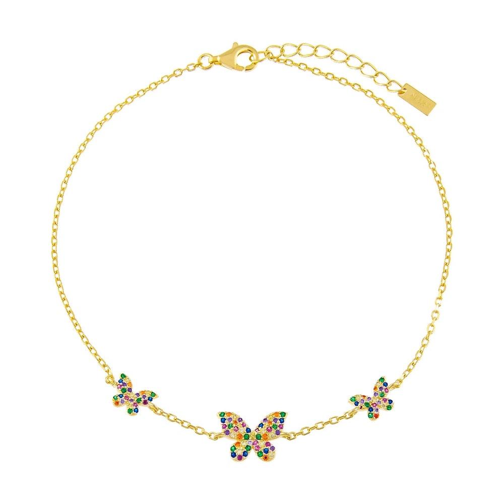 Pavé Rainbow Triple Butterfly Anklet