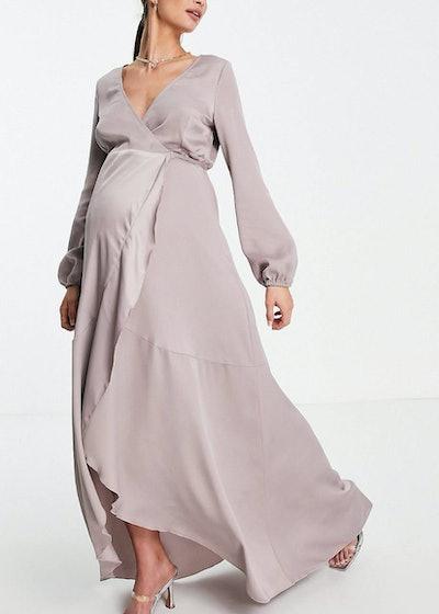 Little Mistress Maternity wrap tie satin midaxi dress in oyster gray