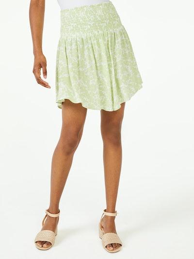 Floral Mini Skirt with Smock Waist
