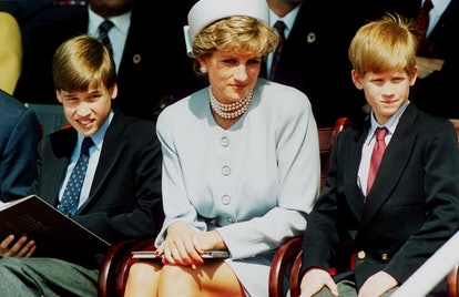 rincess Diana, Princess of Wales with her sons Prince William and Prince Harry attend the Heads of State VE Remembrance Service in Hyde Park on May 7, 1995