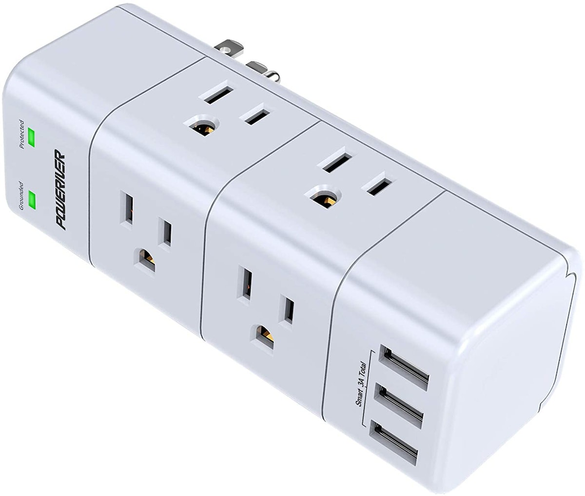 POWERIVER Power Strip with 6 Outlet Extender