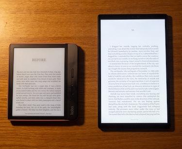 Lenovo 10-inch Nook (2021) review: A Kobo e-reader next to the 10-inch Nook