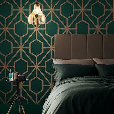 Rinku Green & Copper Wallpaper
