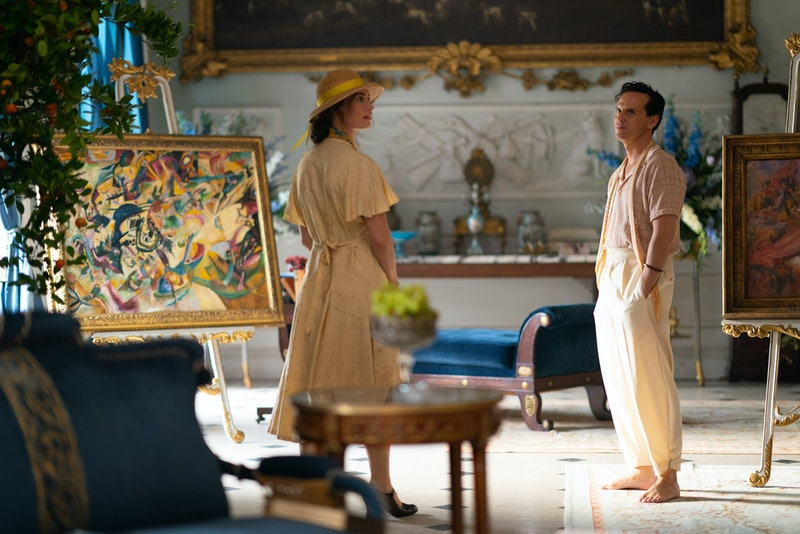 Linda (LILY JAMES), Merlin (ANDREW SCOTT) in BBC's The Pursuit Of Love