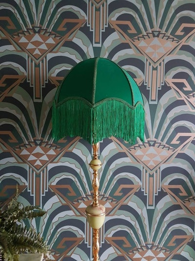16 inch Emerald Deco style lampshade with fringing