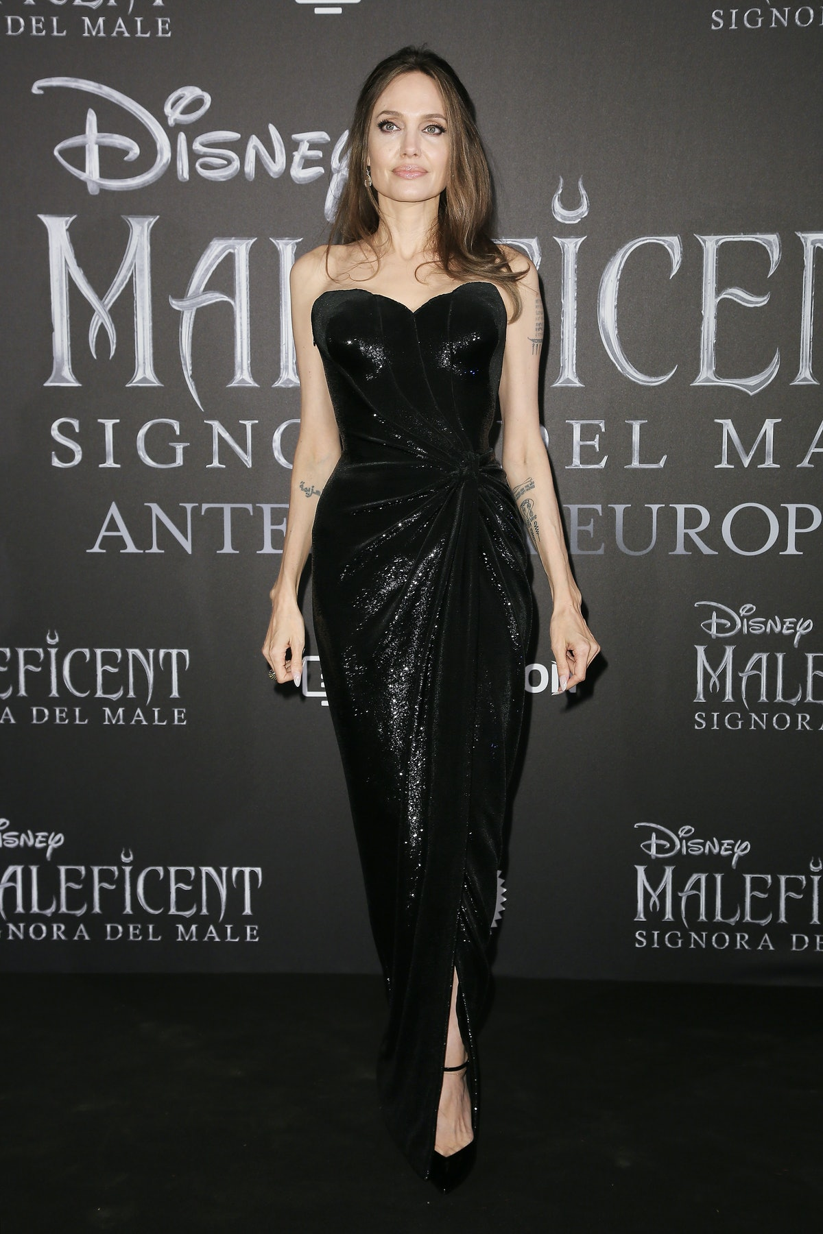 Angelina Jolie in a black dress