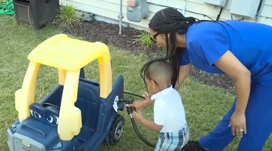 """A 2-year-old filled his toy car with """"gas."""""""