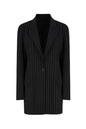 Black Pinstripe Oversized Blazer