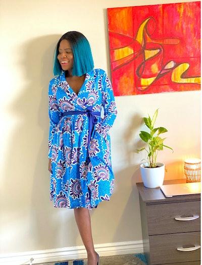 Knee-Length Wrap Dress With Belt