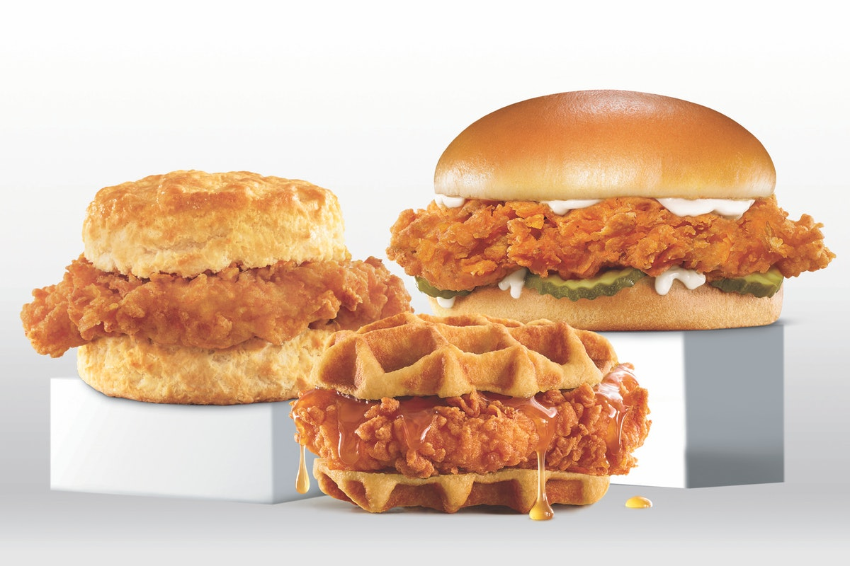 Hardee's and Carl's Jr.'s Hand-Breaded Chicken Sandwich lineup includes a waffle bun option.