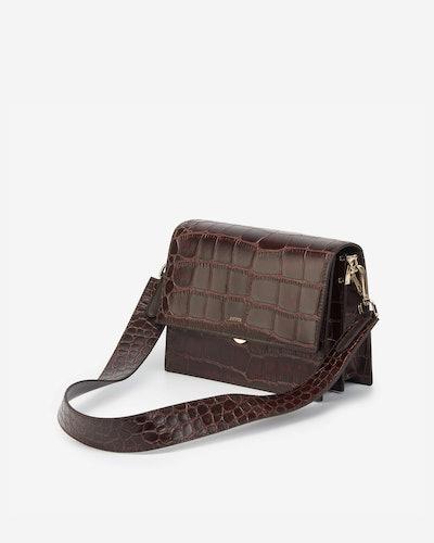 Mini Flap Bag in Brown Croc