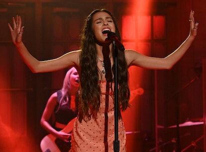 Olivia Rodrigo performing on Saturday Night Live.