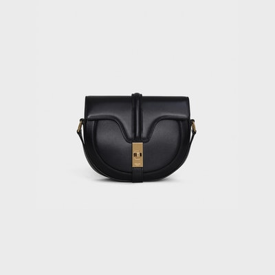 Small Besace 16 Bag in Black Satinated Calfskin