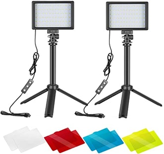 Neewer Dimmable LED Video Light With Adjustable Tripod Stand & Color Filters (2-Pack)
