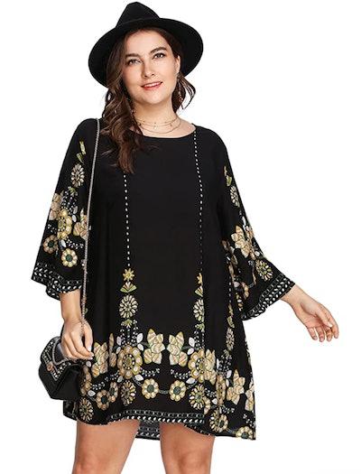 Romwe Floral Swing Dress