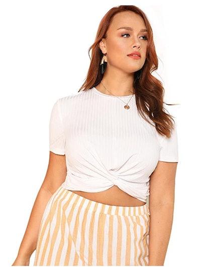 Romwe Front Twist Crop T-Shirt