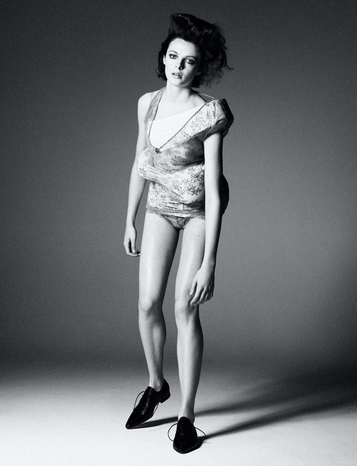 Model Grace Clover wears a Gucci dress and shorts; Maison Margiela shoes.