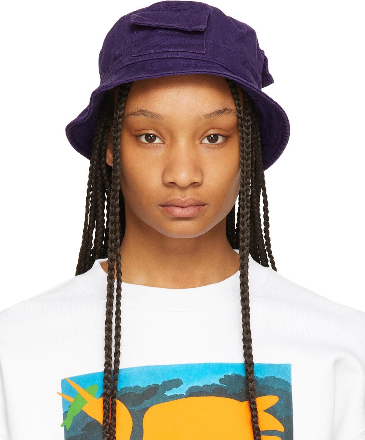 heron preston Purple Twill Bucket Hat