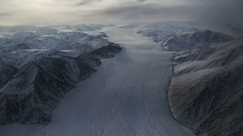 A section of a glacier is seen from NASA's Operation IceBridge research aircraft. Arctic sea ice levels have been badly affected by climate change.