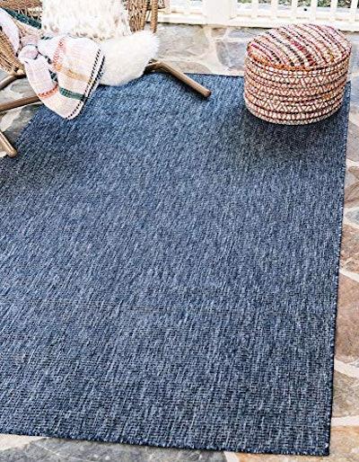 Unique Loom Solid Indoor and Outdoor Flatweave Rug