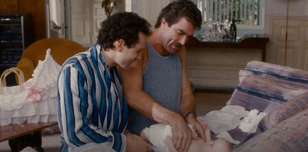 Tom Selleck stars in the 80's comedy, '3 Men and a Baby.'
