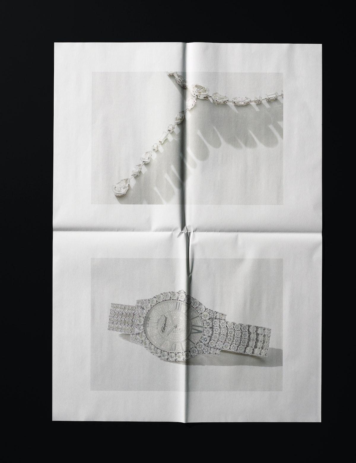 De Beers necklace. Chopard watch.
