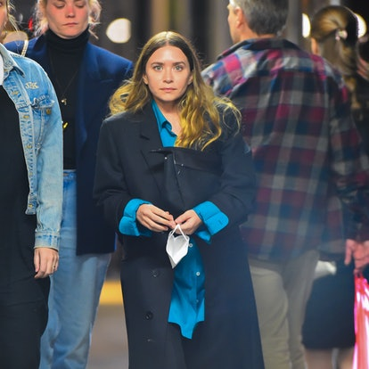Ashley Olsen is seen out walking home late evening after dinner in Manhattan on May 14, 2021 in New York City.