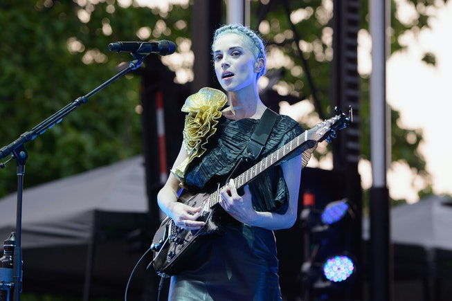 St. Vincent performs during Pitchfork Music Festival at Union Park on July 19, 2014 in Chicago, Illinois.