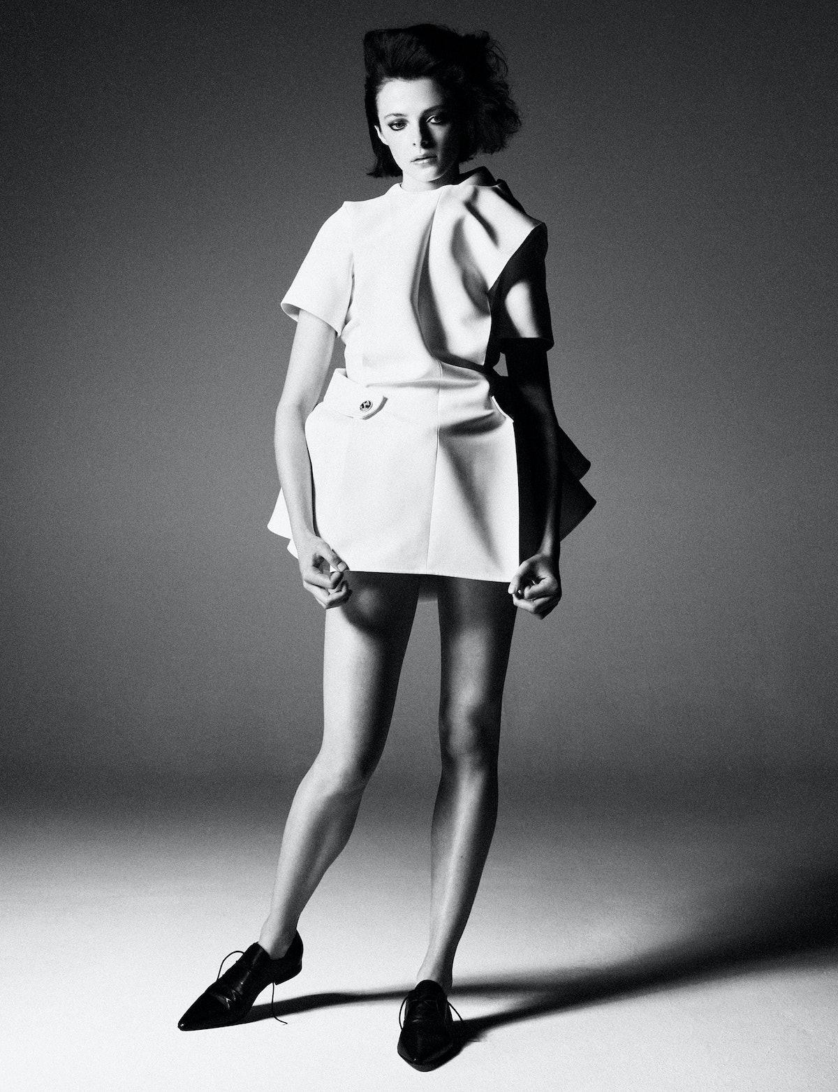 Model Grace Clover wears a Louis Vuitton dress; Maison Margiela shoes.