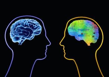 Illustraing of human mind and cybernetic mind