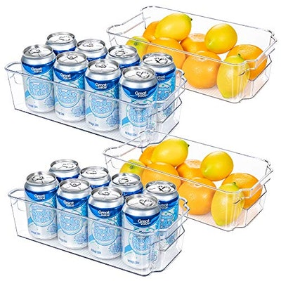 HOOJO Refrigerator Organizer Bins - 4pcs
