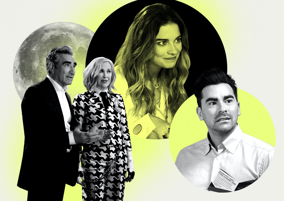 'Schitt's Creek' characters Johnny, Moira, Alexis, and David