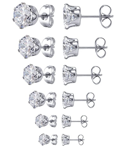 Jstyle Jewelry Clear Cubic Zirconia Stud Earring (6 Pairs)