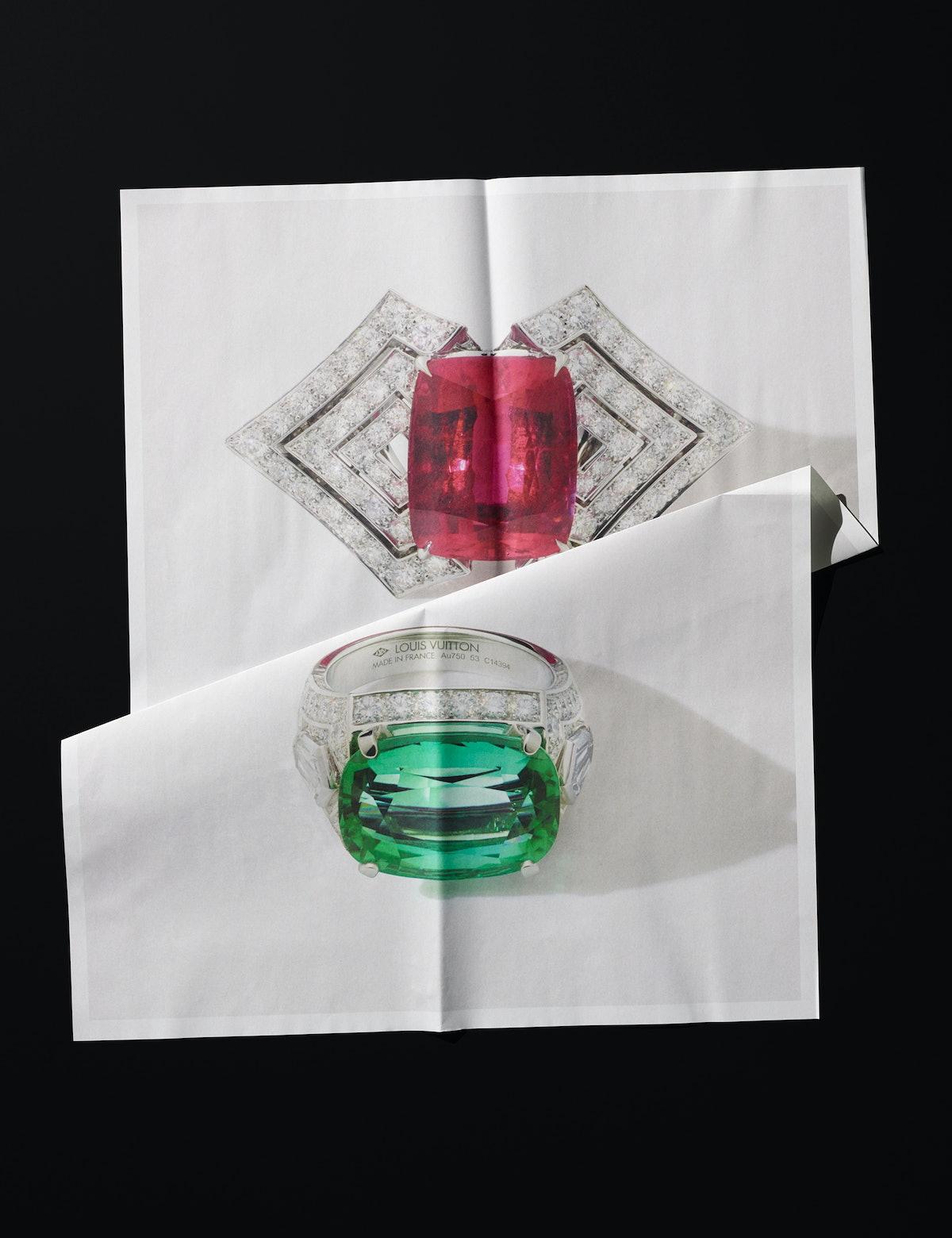 Louis Vuitton rings.
