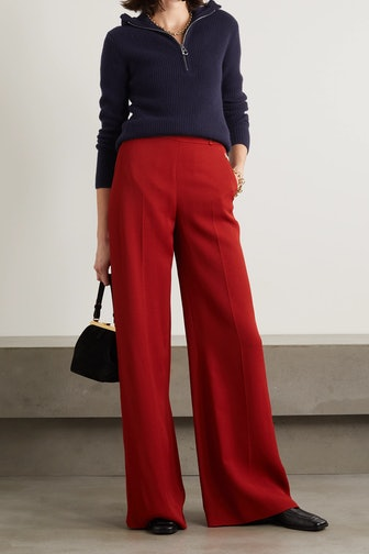 Ruffled Ribbed Wool And Cashmere-Blend Sweater