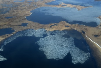 Aerial view of melting permafrost