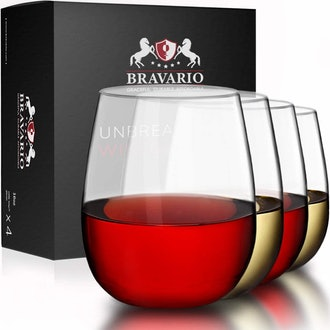 Bravario Unbreakable Stemless Plastic Wine Glasses (Set of 4)