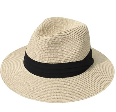 Lanzom Wide Brim Straw Hat