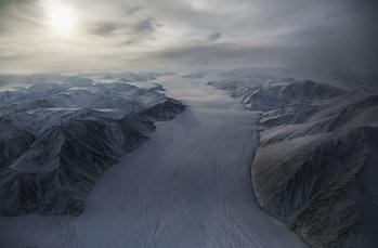 Arctic glacier aerial veiw